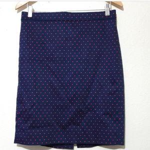 J Crew Navy Red Polka Dot Skirt Size 00